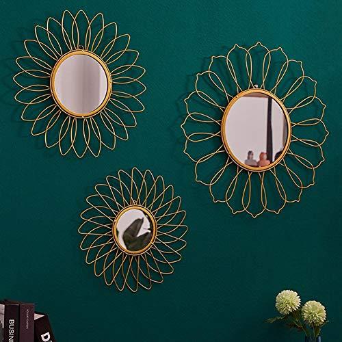 Wandspiegel Rund Goldrahmen Hängend Modern Dekorativ Geometrischer Sunburst-Spiegel mit Haken für Wohnzimmer Wandschmuck