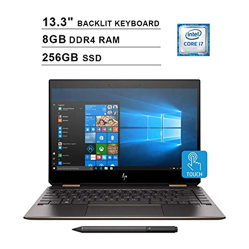 2020 Newest HP Spectre x360 13.3 Inch FHD 1080P 2-in-1 Touchscreen Laptop (Intel 4-Core i7-8565U up to 4.60 GHz, 8GB RAM, 256GB SSD, Bluetooth, Backlit KB, FP Reader, B&O Quad Speakers, Windows 10)