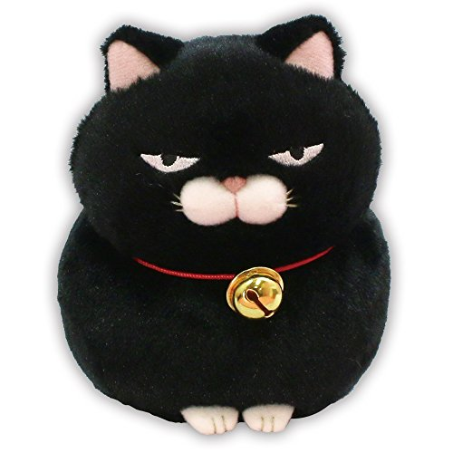 "Amuse Higemanjyu Series Plush Cat Doll Standard Size (5""x 4""x 5"") Japan Import Stuffed Animal Toy Japanese Popular Cat Cute Fluffy Comfortable Doll Plush (Black-Kuromame, Standard)"