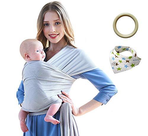 Portabebés - Verano Gris Portador de Bebé, Secado rápido, Tela Perforada Semirrígida Transpirable, Para Bebés y niños de 0-3 años hasta 20 kg. Incluye una bolsa de almacenamiento, un babero y anillos