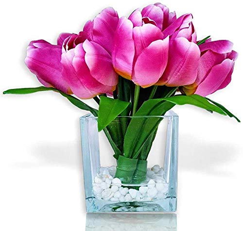 Flores Artificiales de la Naturaleza Arreglo Floral de Tulipanes en jarrón - Centro de Mesa de Tulipanes de Seda con Flores Falsas - Artificial Moderno(Blanco)