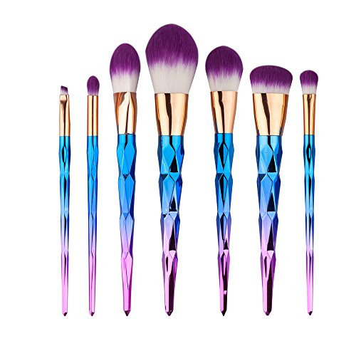King Love Star 7 piezas/set Pinceles de maquillaje Pelo del arco iris Diamante Cosmético...
