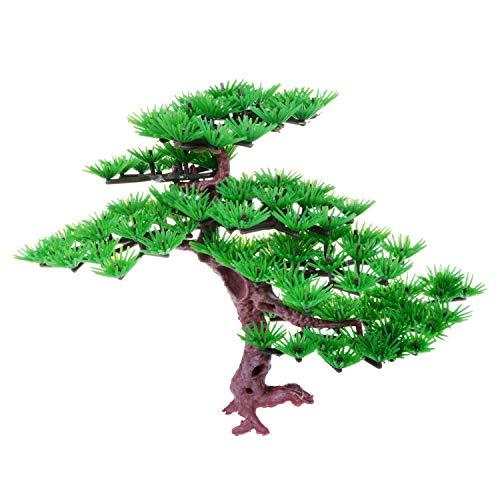 Saim Artificial Pine Tree Plastic Plant Decor for Aquarium Fish Tank Bonsai Ornament Green 5.9' Height