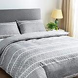 Lekesky Juego de ropa de cama de microfibra de 200 x 220 cm, 3 piezas, color gris, juego de funda nórdica de 200 x 220 cm y 2 fundas de almohada de 80 x 80 cm