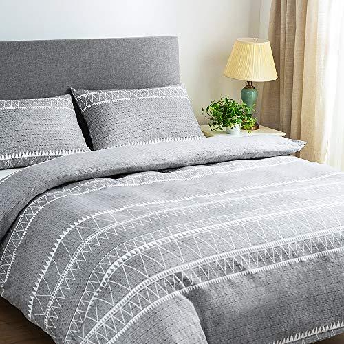 Lekesky Bettbezug-Set für King-Size-Betten, mit Reißverschluss, Mikrofaser, Bettbezug-Set mit 2 Kissenbezügen, Grau