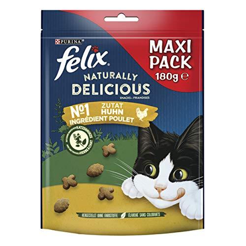 FELIX Naturally Delicious Katzensnack, gesunde Leckerlies mit Huhn & Katzenminze, 6er Pack (6 x 180g)
