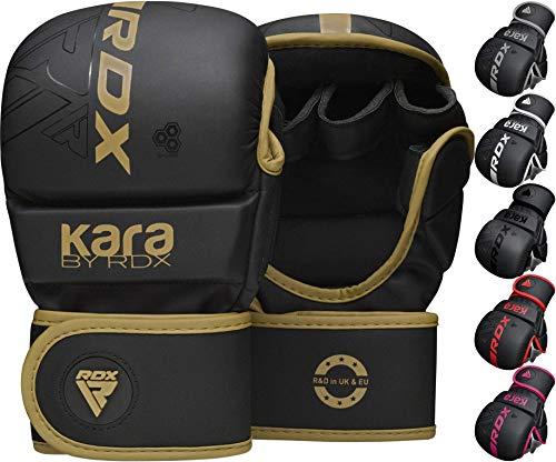 RDX Guantes MMA para Artes Marciales Grappling Entrenamiento, Maya Hide Cuero Kara Sparring Guantillas Lucha Muay Thai Kickboxing Krav Maga y Combate Training