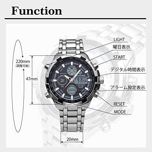 『[バロンズ] 腕時計 メンズ クロノグラフ 日本製クォーツ 防水 夜光 アラーム アナデジ表示 (02-ホワイト)』の2枚目の画像