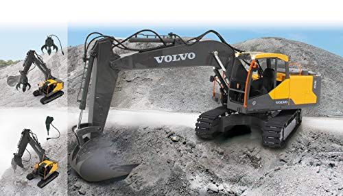 Jamara 405055 Bagger Volvo EC160E 2,4GHz Funktionen, jedes Gelenk einzeln steuerbar, realistische Sounds, 660 ° Turmdrehung, Auto-Standby-Modus, gelb