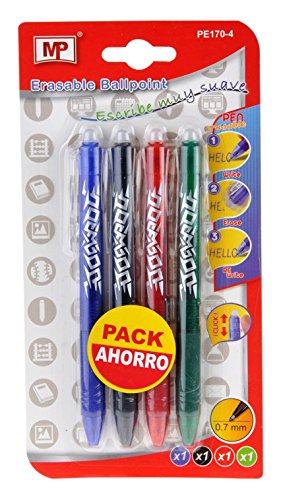 MP PE170-4 - Pack de 4 bolígrafos borrables con click