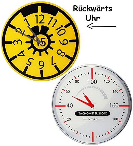alles-meine.de GmbH Uhr aus Glas - Wanduhr -  TÜV Plakette  - 30,5 cm groß - sehr leise ! - rückwärts laufend - Werkstattuhr - für Kinderzimmer & Wohnzimmer - Rückwärtsuhr - Au..