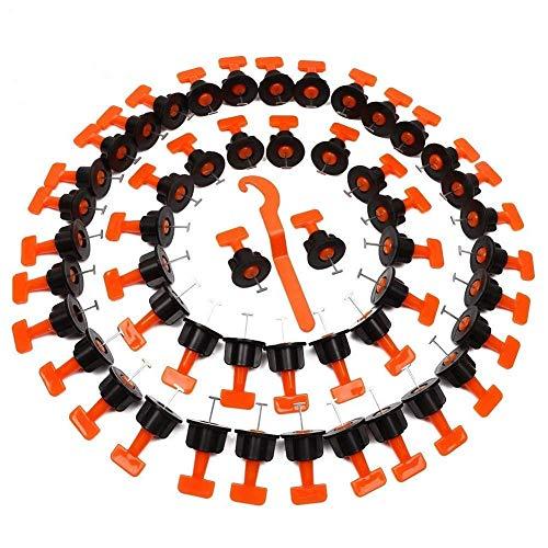 JRR Fliesen Nivelliersystem Kit, 50Stück 100Stück 200Stück wiederverwendbare Fliesen Spacer für Fliesenausgleich, 1 Stück Spezialschlüssel (100PCS)