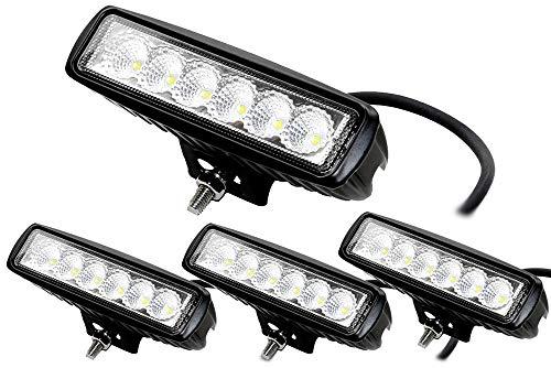 ALPHA DIMA 4X 18W Phare de Travail LED Lampe Work Light IP67 Phare Véhicule Tout-Terrain 12V 24V Lumière LED pour Voiture SUV ATV Tracteur Camion 4x4