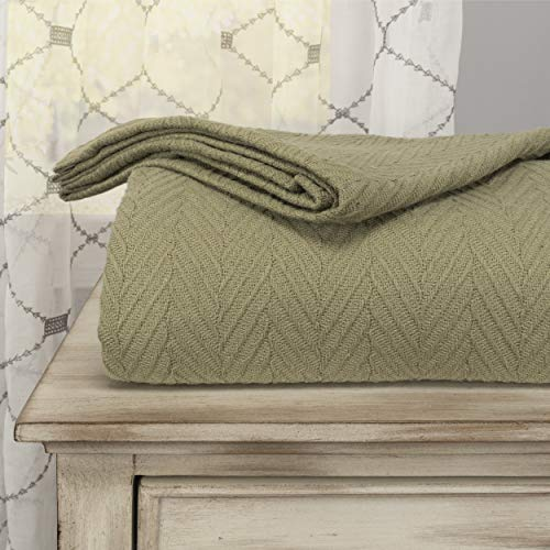 SUPERIOR 100% Cotton Thermal Blanket - All-Season Oversized Throw, Woven Blanket with Herringbone Weave Pattern, Sage, King Size