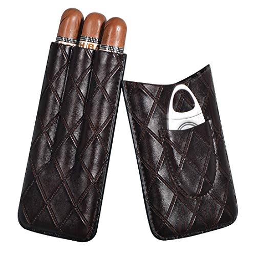 Volenx Zigarren Etui, Drei Tuben Tragbarer Humidor mit Zigarrenschneider, Ideal zum Ausgehen oder für Kurztrips (Dunkelbraun)