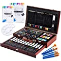 Vigorfun Luxury Art Supply 129-Piece Mega Wood Box Art, Painting & Drawing Set with Color Mixing Wheel and Drawing Sketching Paper Pads