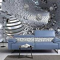 壁紙3D抽象トンネルスペース三次元金属ボール壁画リビングルーム研究接着剤背景壁の装飾-200cm(W)x200cm(H)