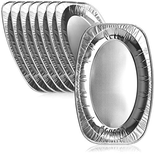 com-four® 8X Plato para Servir - Plato para Servir de un Solo Uso Hecho de Aluminio - bandejas ovales de Aluminio para Bodas, Catering, Catering o Fiestas (35x23.5cm - 08 Piezas)