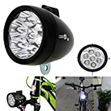 Vintage Retro Bicycle Bike Front Light Lamp 7 LED Fixie Headlight with Bracket (Black)
