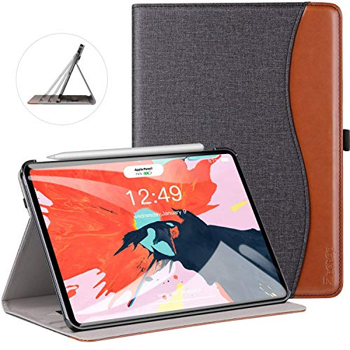 Ztotop Case for iPad Pro 11 Inch 2018 Release, Premium Leather Slim Multiple Viewing Angles Folding Stand Cover with Auto Wake/Sleep (Support 2nd Gen Apple Pencil Wireless Charging), Canvas Black