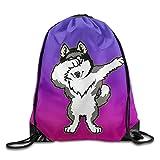 Hip Hop Dabbing Dab Dance Dog Siberian Husky Purple Drawstring Bag Gym Backpack