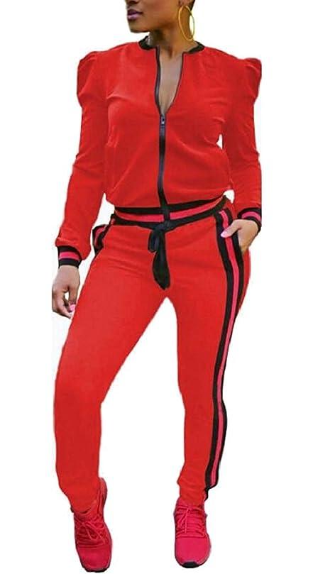 上へ吸い込む石のレディースツーピース衣装長袖ジッパージャケットパンツセットトラックスーツ 1 US X-Small