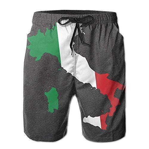 yting Italien Flagge Karte Herren Summer Beach Schnelltrocknende Surf Badehose Boardshorts Cargo Pants,Größe M