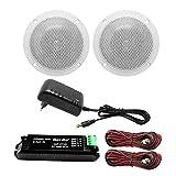 Herdio 160W 4 Inch Ceiling Speaker Kit Amplifier Water Resistant Ceiling Speakers For Bathroom Kitchen Home...