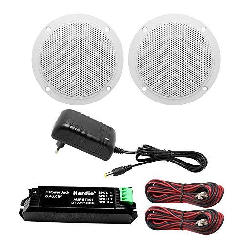 Herdio Bluetooth Deckenlautsprecher-Kit Verstärke wasserdichte Deckenlautsprecher Für Badezimmer Küche Home Outdoor