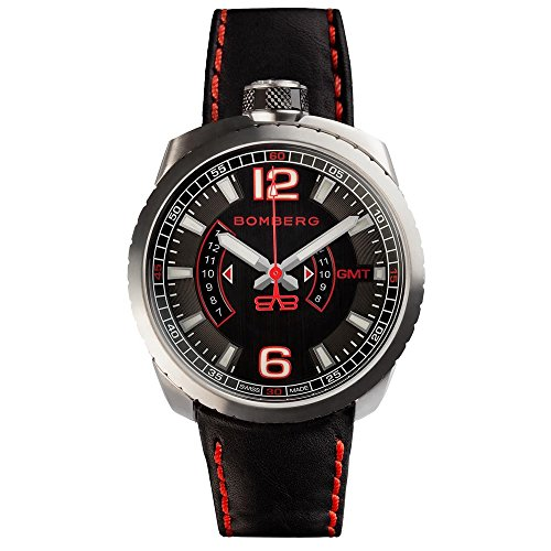 BOMBERG MEN'S BOLT 68 45MM BLACK LEATHER BAND SWISS QUARTZ WATCH...