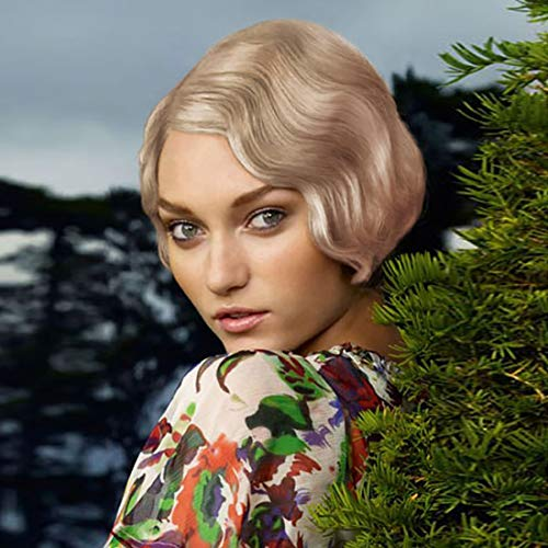 STfantasy Finger Wave Wig Short Curly Synthetic Hair for Women 1920s Cosplay Costume Halloween Party Daily Everyday Wear (Ombre Blonde #27T613)