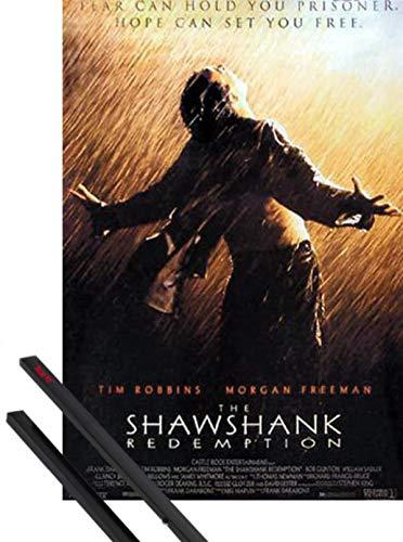 1art1 Cadena Perpetua Póster (98x68 cm) Rain, Tim Robbins, Morgan Freeman Y 1 Lote De 2 Varillas Negras