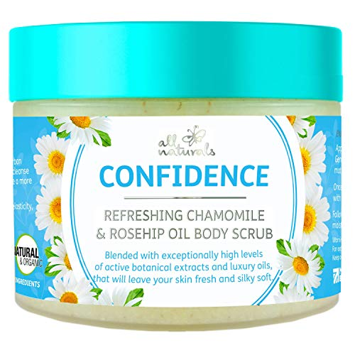 All Naturals, Exfoliating Organic Body Scrub, Chamomile & Rosehip Oil, Intensive Skin Rejuvenating & Softening Treatment. Gifts for Women 400g