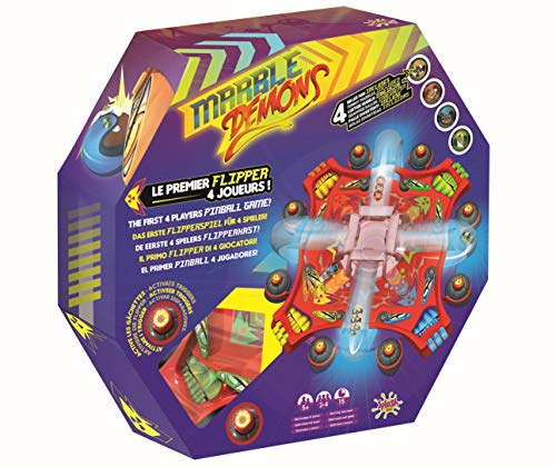 Splash Toys 30140 -Flipperspiel MARBLE DEMONS, Flipper Kugel Dämonen, Geschicklichkeitsspiel für mehrere Spieler mit Sound und Lichteffekten in tollem Retro-Design
