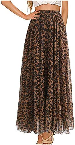 L VOW Women s Elastic Brown Leopard Print Watercolor Maxi Casual Skirt High Waisted Dress Pleated product image