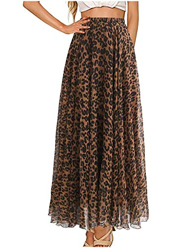 L'VOW Elastic High Waisted Leopard Print Skirts for Women, Casual Drawstring Pleated Maxi Dress Skirt (Brown, M)