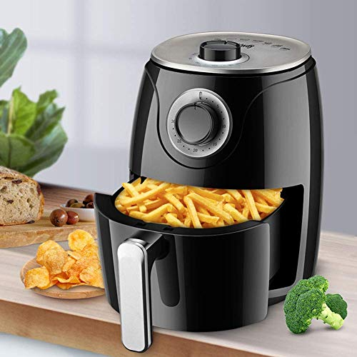 QTCD Air Fryer Oilless 2.6L Fritteuse Mini Oven 1000W LED Digital Touchscreen vorheizen Timer und Temperaturkontrolle, Nonstick Korb, Rot fanghua (Color : Black)