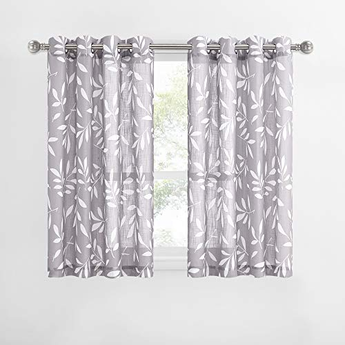 NICETOWN White and Grey Semi Sheer Kitchen Curtains for Half Window, Ring Top Natural Linen Blend Window Treatments Privacy with Amount Light for Nursery/Kids Room, 2 Panels, W50 x L54
