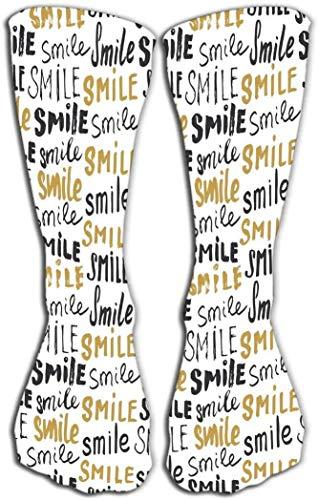 Calcetines estampados hasta la rodilla de 19,7'(50 cm) Atltico sobre el tubo de la pantorrilla Letras de sonrisa Insignia con textura grunge caligrfica bosquejada