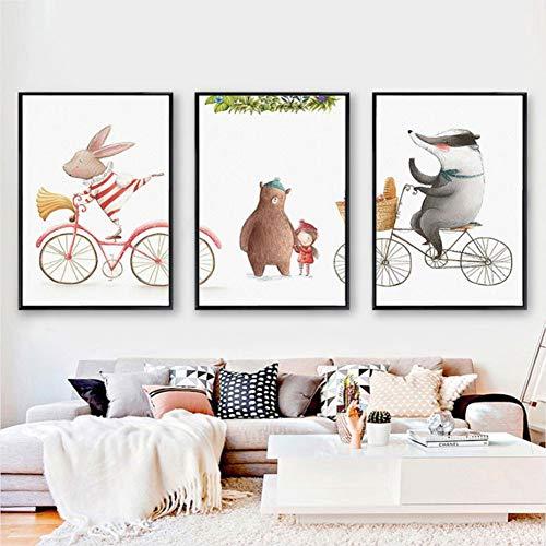 ZSHSCL Impresión En Lienzo Pintura 3 Piezas 3 Piezas Animales Conejo Cerveza Pinturas En Lienzo Carteles Infantiles Rosa Impresiones Arte De La Pared Cuadros para La Decoración De Las Habitaciones De