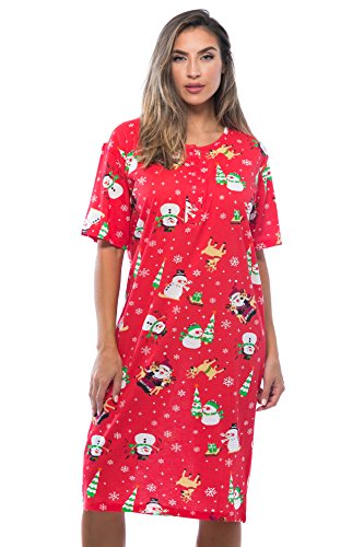 Just Love 4360-10003-L Short Sleeve Nightgown Sleep Dress for Women Sleepwear, Red - Holiday Friends, Large