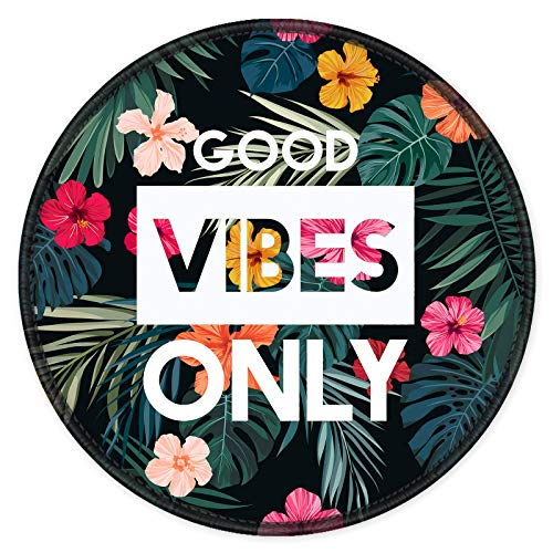 ITNRSIIET [20% Larger] Mouse Pad with Stitched Edge Premium-Textured Mouse Mat Waterproof Non-Slip Rubber Base Round Mousepad for Laptop PC Office 8.7×8.7×0.12 inches, Flower Good Vibes Only