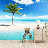 Msrahves Fotomural TV Azul océano palmeras playa Pared Mural Foto Papel Pintado Pared Mural Vivero Sofá Tv Pared De Fondo Decoración de Pared decorativos hotel fondo de TV