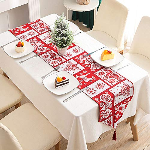 WELLXUNK® Weihnachten Tischläufer, Weihnachtstischläufer Kreative, Rot Weihnachten Tischdecke Abwaschbar Esstisch Läufer Dekorative Weihnachten Tischdekoration (B)