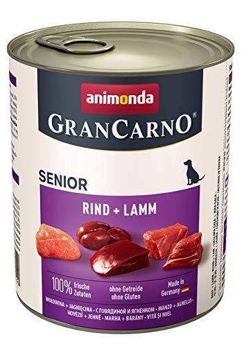 animonda GranCarno Hundefutter Senior, Nassfutter für ältere Hunde ab 7 Jahren, Rind + Lamm, 6 x 800 g