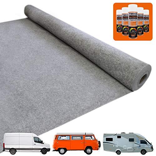 T-Mech Auto-Verkleidung Autostoff Teppich-Verkleidung Auto-Polsterstoff Fahrzeug Innenraum Bezugsstoff Dachhimmel Verkleidung | INKLUSIVE 5 x Klebstoff-Sprühdosen Grau