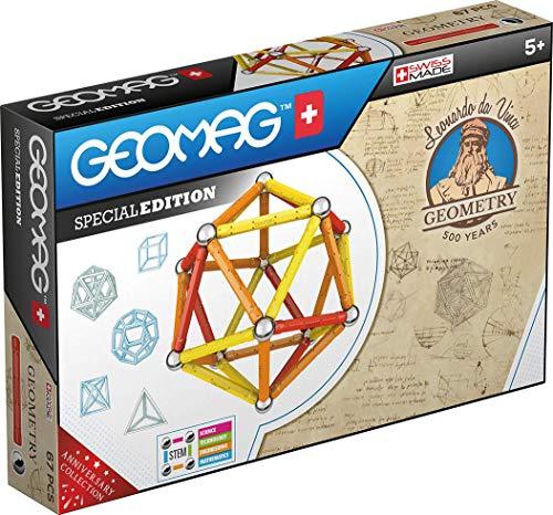 Geomag Special Edition 783 - Leonardo Magnetic Geometry - Costruzioni Magnetiche - Le Macchine di Leonardo da Vinci per Bambini - Confezione da 67 Pezzi