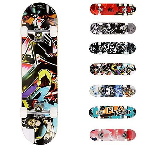 WeSkate Completo Skateboard para Principiantes, 80 x 20 cm 7 Capas Monopatín...