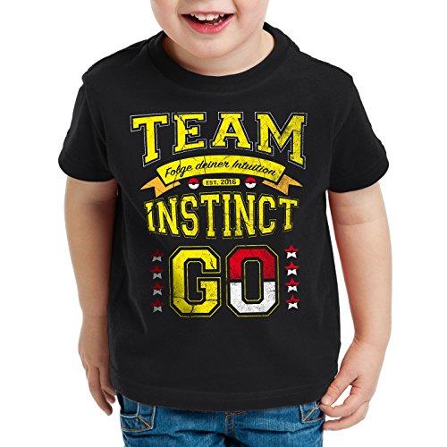 style3 Team Gelb Instinct Kinder T-Shirt Intuition Instinkt, Farbe:Schwarz;Größe:164