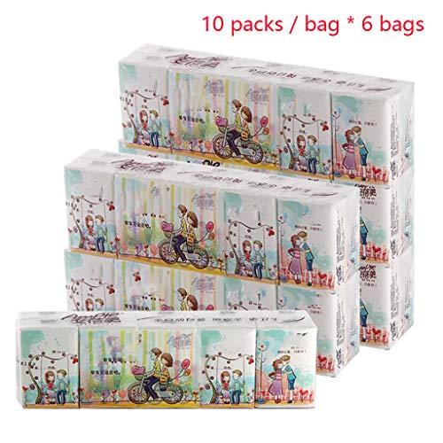LSY Mini Pocket pañuelos faciales, 3 Capas de Bolsillo del Bolso los Tejidos de Papel Toalla de Viaje portátil Papel Multifold 60 Paquetes Ultra higiénico Suave Toallas de Papel
